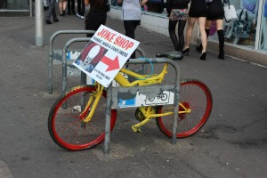 Bicycle used for advertising